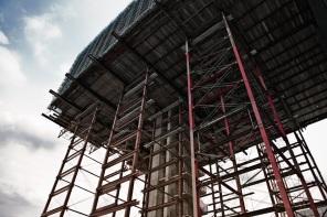 Construction of a modern apartment block at the Rheinauhafen Docks, Cologne