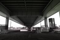 A view from under the bridge at Rheinauhafen Dock